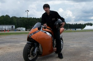Tom Miceli on his Ion Electric Sportbike